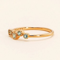 Or Rose 18 Carats, Topaze Bleue